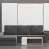 Cama abatible vertical con sofá chaise-longue con arcones