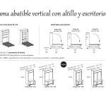 Cama abatible vertical con altillo y mesa