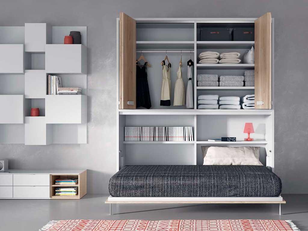 Cama abatible horizontal con armario by muebles san antonio - Hacer una cama abatible ...
