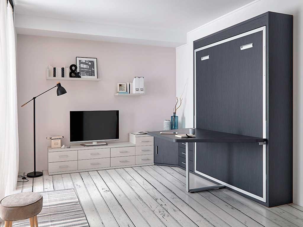 Cama abatible vertical con mesa by muebles san antonio - Camas abatibles con mesa ...
