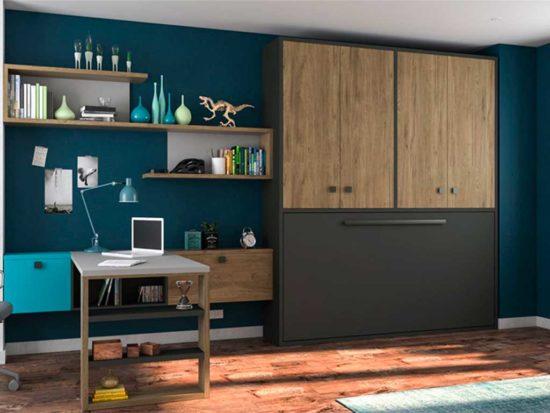 Cama abatible horizontal con armario superior.