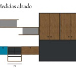 Cama abatible modelo cross abierta con armario superior.