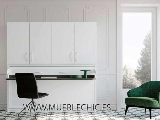 Cama abatible con armario y opción de escritorio