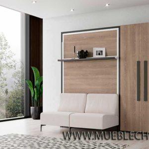Cama abatible con estantes y sofá Vintage
