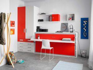 Cama abatible Studio frentes rojos